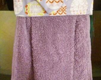 Hanging Handtowel, Lavender Towel,  Easter Egg Print Towel Topper, Oven Door Towel, Sewn towel Topper, Kitchen Towel, handmade, home decor