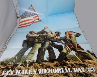 "1983 Van Halen Memorial Day Concert Fold Out Poster 23"" x 35"" David Lee - This is LAST ONE!"