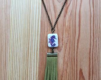 Olive Green Fringe + Seahorse Drop Necklace