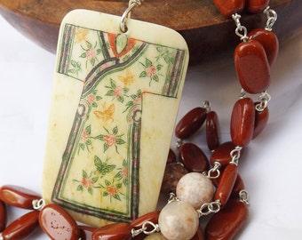 Bone pendant, carved bone, scrimshaw pendant, vintage pendant, 1950s Japanese, Geisha pendant, red jasper necklace, sterling silver