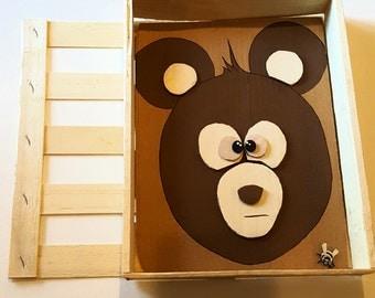 Big Eyed Brown Bear multimedia painting