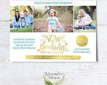 Family Mini Sessions, Now Booking, Mini Session Template, Photoshop Template, Photography Marketing, Flat Card, PSD File, Instant Download