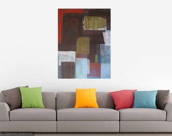 Original Large Abstract Painting Maroon Burgundy Green Blue Red Neutral Contemporary Modern Art 40 x 30 Shapes Expressionism Minimalist Loft