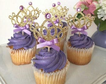 10 Piece Glitter Princess Crown Cake/Cupcake Toppers Pink/Purple