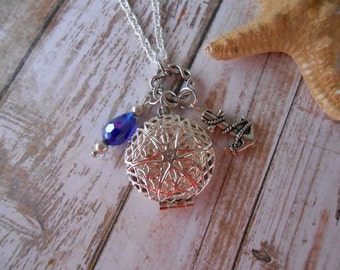 Silver Diffuser Necklace with Anchor  Charm and Blue Glass Bead accented with pearls