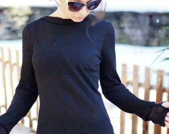 Black asymmetric sleeve top/asymmetric black tunic/black spring top/asymmetric black blouse/asymmetric casual top/sleeve top with hood