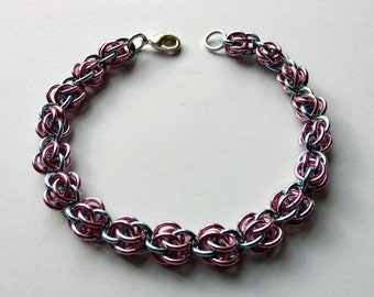 Pastel Pink and Pastel Blue Sweet Pea Bracelet