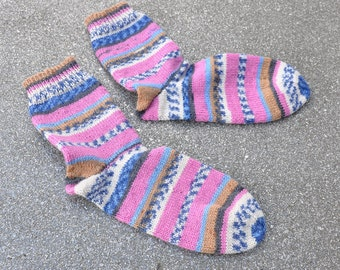 Hand knitted pink sock / stained Gr. 37/38
