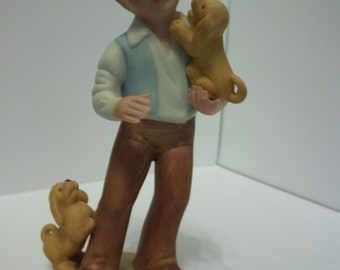 AVON 1981 Best Friends Boy with 2 Puppies Figurine