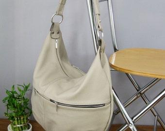 SALE NEW lower price 50% OFF,leather hobo bag, Beige Hobo bag, Beige Leather Bag, Large Hobo,  Leather Hobo Bag,  Bag - Everyday Leather Bag