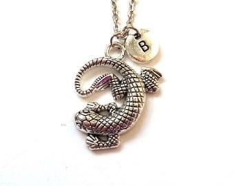 Lizard Necklace, Lizard Jewelry, Lizard Pendant Necklace, Personalized Initial Necklace, Initial Charm, Monogram Necklace (A11)