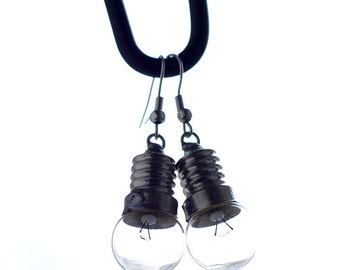 Earrings made of light bulbs, bike glow bulbs, nickel-free silver plated, #Upcycling, by #7streich