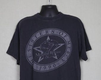 Sisters of Mercy t-shirt, 1990s vintage rare faded black tee shirt, Merciful Release, Vision Thing, original OG