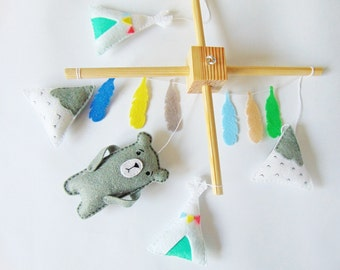Baby Moblie, baby mobile woodland, baby mobile felt, baby mobile teepee, baby mobile mountain, baby mobile bear,