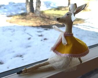 Deer Stuffed Animal in Wool Cape (Small)