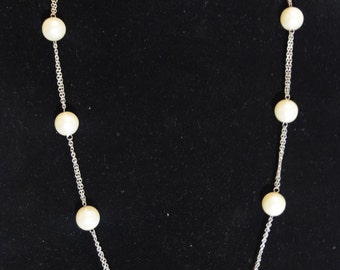 White Pearl Chain Necklace