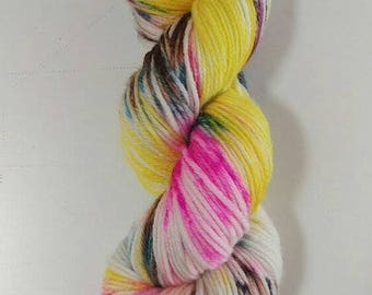 Hand Dyed Yarn Superwash Merino Bamboo, DK 8 ply, 100g - Bananas in Pyjamas