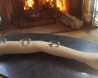 OOAK Repurposed Mannequin Arm Candle Holder, Upcycled Unique Candelabra