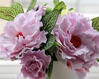 Peonies, Floral Arrangement, Handmade Flowers, Deco Clay, Pink peonies, Home Décor, Table decoration