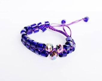 dark blue bracelet metallic jewelry shamballa bracelet beach jewelry crystal bracelet gift/for/her bold bracelet bff gift bead bracelet Q5