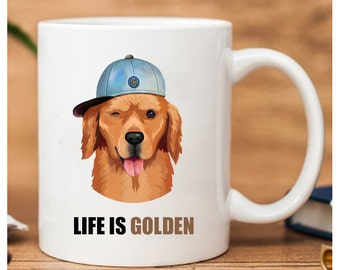Golden Retriever Mug, Life Is Golden, Golden Retriever Gifts, Gifts For Golden Retriever Lovers, Golden Retriever Coffee Mug