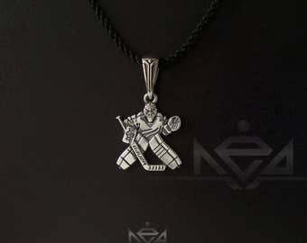 NEW Goalie Hockey pendant , sterling silver charm