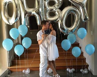 "Giant OH BOY Balloons - 40"" Inch Mylar Balloons in Letters O-H-B-O-Y - Metallic Silver - Baby Shower Balloons, Baby Shower Decorations"