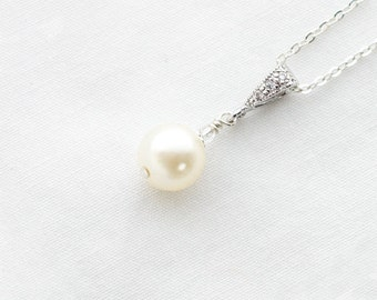 Bridal Pearl Necklace, Bridesmaid Pearl Necklace,Small,Pearl Drop Necklace, Ivory, Pearl Pendant Necklace,Silver,Wedding Necklace for Bride