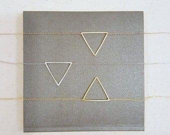 Open Triangle Necklace / Delicate Necklace / Rose Gold, Silver, Gold Triangle / Minimalist Layering Necklace