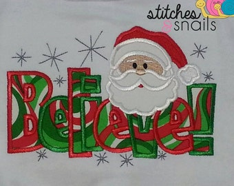 Believe Appliqued Shirt with Santa