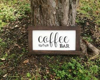Farmhouse coffee bar sign, farmhouse kitchen decor, rustic framed wooden sign, coffee sign, coffee bar decor, coffee station sign