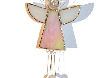 Stained Glass Guardian Angel - Guardian Angel hanging - Stained Glass Angel - Gift for Her - Angel suncatcher - Guardian Angel