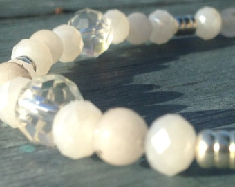 White Crystal And Quartz Bracelet