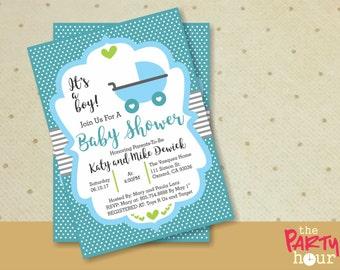 Stroller Printable Baby Shower Invitation boy - It's a Boy Baby Shower Invitation - Personalized Baby Shower Invitation Boy - Stroller