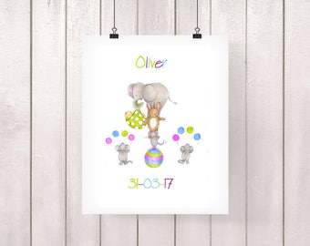 Personalised Baby Gift, Circus Print, Baby Gift, Baby Boy Gift, Baby Girl Gift, Elephant Baby Gift, Elephant Baby Shower, Animal Baby Print
