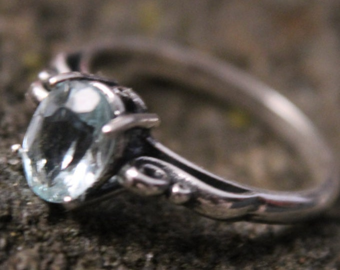 Sterling Silver Aqua Marine Scroll Ring, 8x6mm Blue Gemstone Ring Size 7, March Birthstone, Birthday or Valentine's Day Gift for Her
