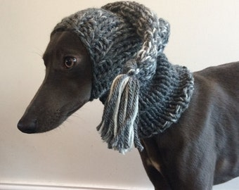 5 Colours Hand Knitted Hat with Snood Whippet, Italian Greyhound, Lurcher