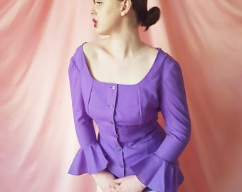 Vintage 1960s Wide-Neck Tailored Blouse With Circular Flounce Flared Sleeves, Speckled Confetti Buttons & Two Pockets in Violet Purple