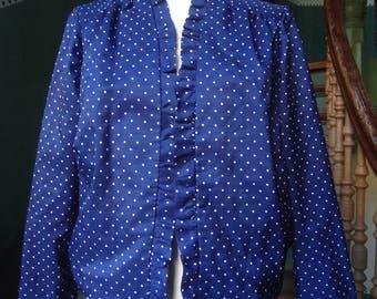 True vintage 50s jacket L DIY hand-sewn jacket bolero jacket Bolero PolkaDots rockabilly pin up Navy blue white ruffle open