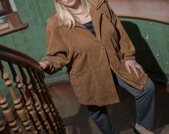 80s jacket true vintage short jacket XL brown suede retro oversize transition jacket coat