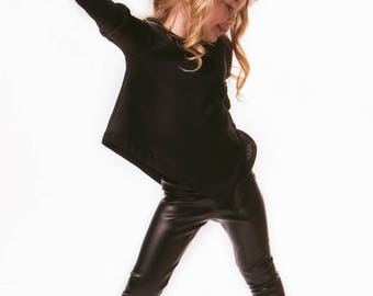 Jayde Asymmetrical Top in Black & Maroon