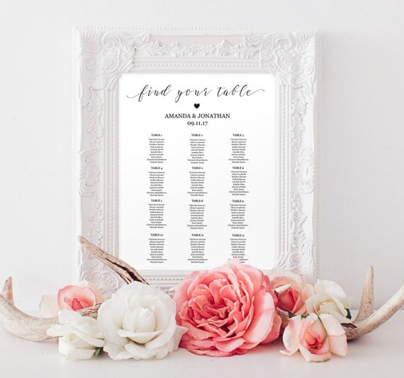 Wedding Seating Chart Sign - Please Find Your Seat - Wedding Seating Chart Template -  Editable Table Card - Downloadable wedding  #WDH0146