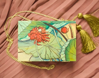 """Wooden bag """"Chinese water lily"""""""