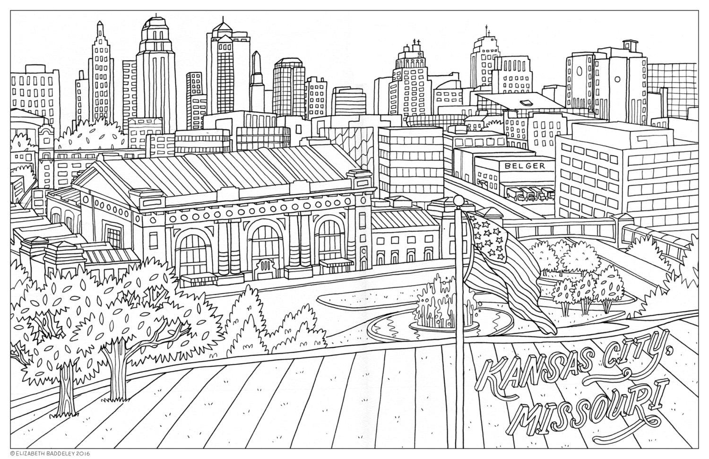 Color Me Kansas City Coloring Book Page Download: Kansas City