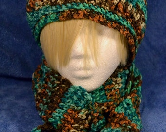 Multicolor Hat and Scarf Set: Blues and Browns