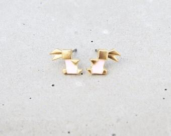 Origami Rabbit Earrings, Origami Bunny Earrings, Rabbit Stud Earrings, Gold Rabbit Earrings, Pink Rabbit Studs, Cute Earrings, Gift for her