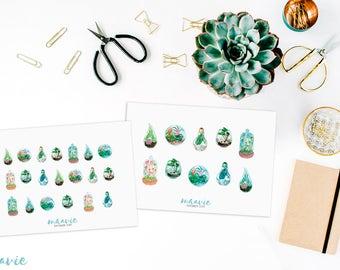 Blue & green terrarium sticker sheets, 2 sheet