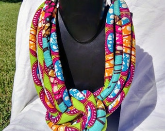 Ankara Necklace, Statement Necklace, Ethnic Necklace, Tribal Necklace, Rope knot  Necklace, African Print, Gift for her, Free Shipping