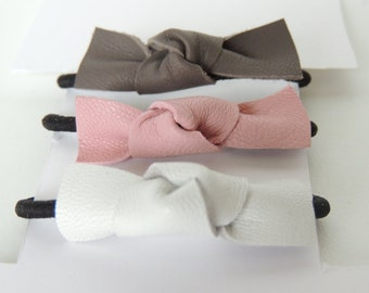 Pony Knot Hair Tie | leather baby bow | toddler hair bow | hair elastic | handmade | baby headband | simple headband | trendy headband