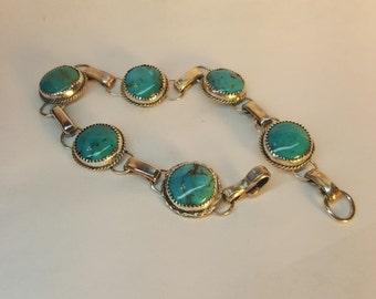 turquoise bracelet, boho  bracelet, hippie bracelet, gypsy bracelet, western bracelet, sterling silver with turquoise stone, blue bracelet